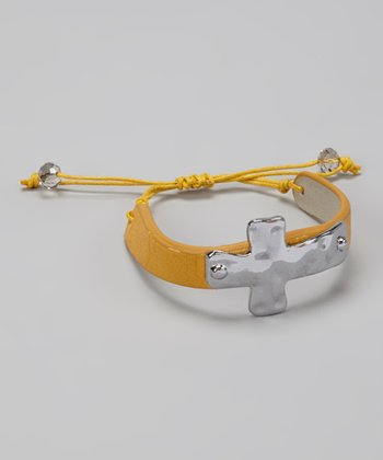 Mustard & Silver Cross Cinch Bracelet