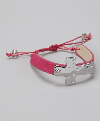Pink & Silver Cross Cinch Bracelet
