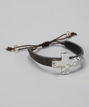 Dark Gray & Silver Cross Cinch Bracelet