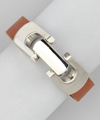 Rust Brown & Silver Latch Bracelet
