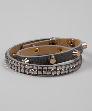 Dark Gray & Gold Sparkle Studded Wrap Bracelet