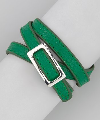 Forest Green & Silver Textured Wrap Bracelet