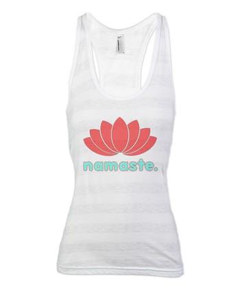White Stripe Lotus 'Namaste' Racerback Tank - Women