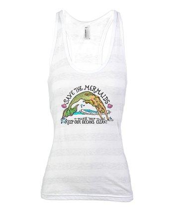 White Stripe 'Save the Mermaids' Racerback Tank - Women