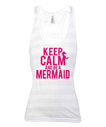 White Stripe 'Keep Calm and Be a Mermaid' Racerback Tank - Women