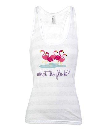 White Stripe Flamingo 'What The Flock?' Racerback Tank - Women