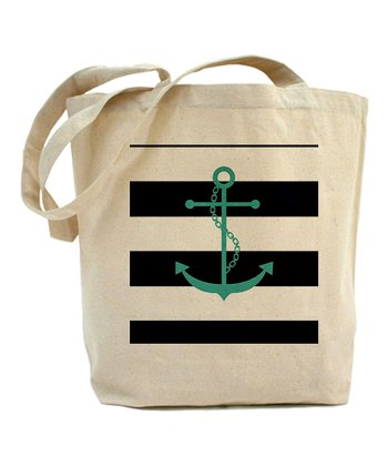 Teal & Navy Anchor Stripe Tote