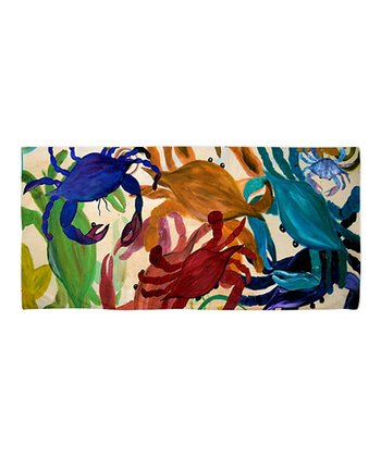 Blue & Red Crab Party Beach Throw