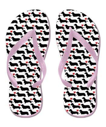 Black & White Get a Long Little Doggie Flip-Flop