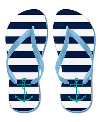 Teal & White Stripe Anchor Flip-Flop