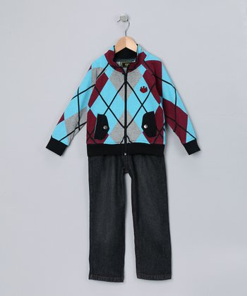 Blue Argyle Zip-Up Jacket & Jeans - Toddler