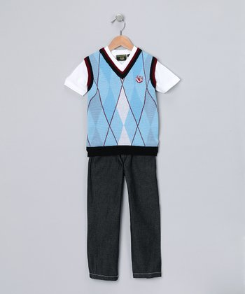 Blue Argyle Vest Set - Infant & Toddler