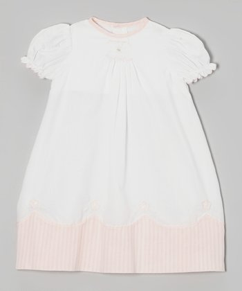 White & Pink Puff-Sleeve Dress - Infant