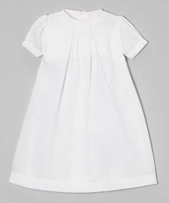 White & Pink Smocked Dress - Infant