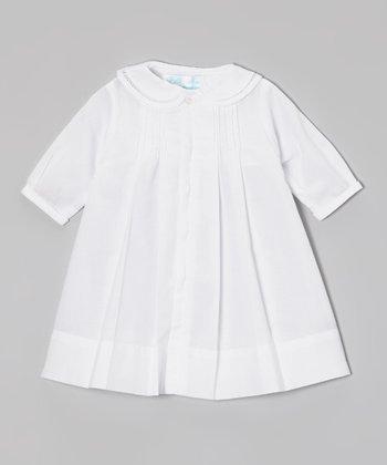 White Smocked Collar Dress - Infant