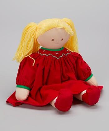 Blonde Red Smocked Dress Doll