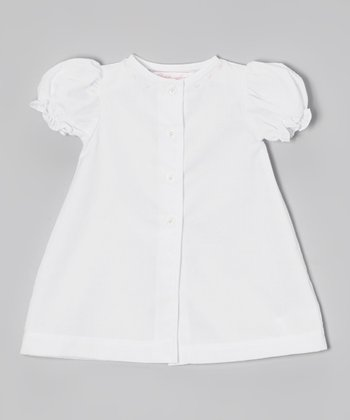 White Puff-Sleeve Button-Up Dress - Infant