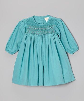 Green Long-Sleeve Smocked Dress - Infant