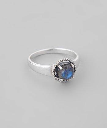 Labradorite & Sterling Silver Braided Frame Ring
