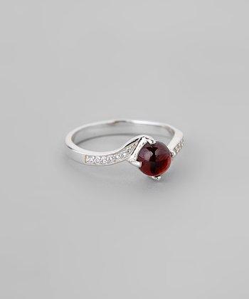 Garnet & Sparkle Swirl Ring