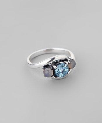 Blue Topaz & Pink Chalcedony Swirl Ring
