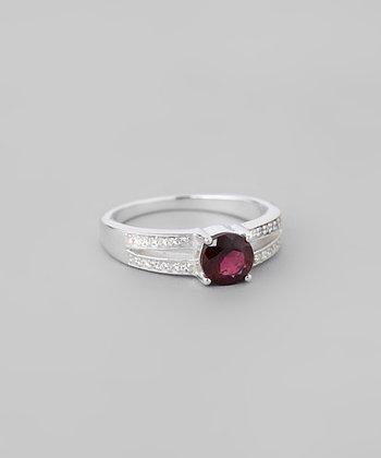 Garnet & Sparkle Faceted Round Split-Band Ring