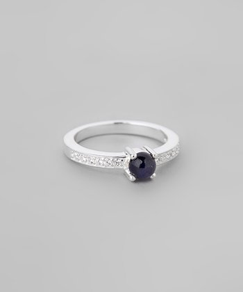Iolite & Sparkle Round Ring