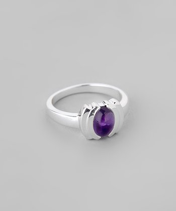 Amethyst & Sterling Silver Oval Ring