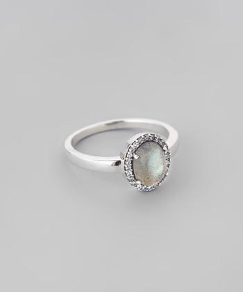 Labradorite & Sparkle Framed Oval Ring