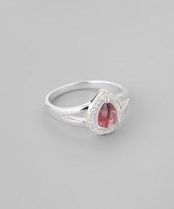 Garnet & Sparkle Framed Pear Ring