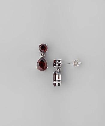 Garnet & Sterling Silver Faceted Circle Teardrop Earrings