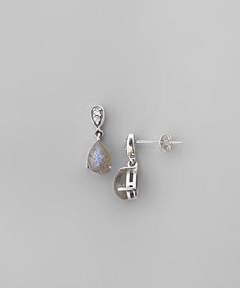 Labradorite & Sterling Silver Domed Teardrop Earrings