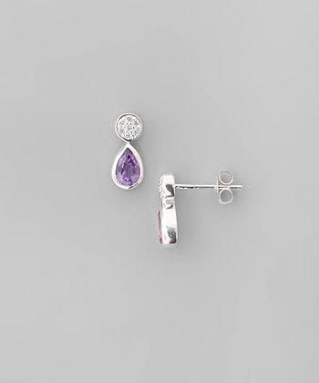 Amethyst & Sparkle Circle Teardrop Earrings