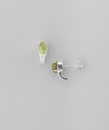 Tourmaline & Sterling Silver Oval Curve Stud Earrings