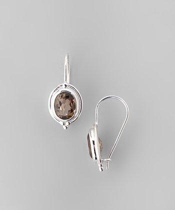 Smoky Quartz & Sterling Silver Oval Huggie Earrings