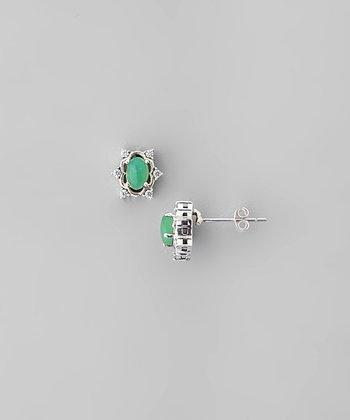 Chrysoprase & Sparkle Snowflake Stud Earrings