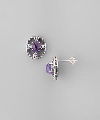 Amethyst & Sparkle Crosshair Stud Earrings
