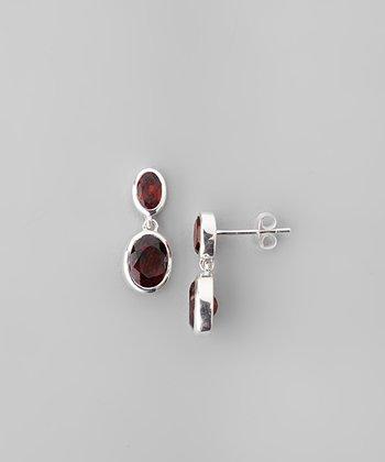 Garnet & Sterling Silver Double Ovals Drop Earrings