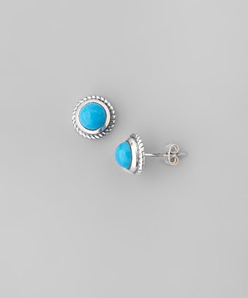 Turquoise & Sterling Silver Braided Frame Ball Stud Earrings