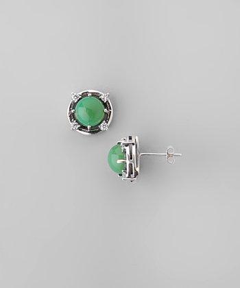 Chrysoprase & Sparkle Framed Ball Stud Earrings