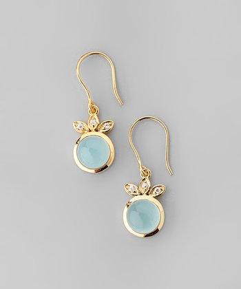 Aqua Chalcedony & Yellow Gold Ball Leaf Drop Earrings