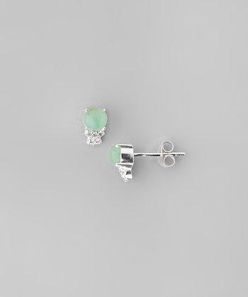 Chrysoprase & Sparkle Crystal Ball Stud Earrings