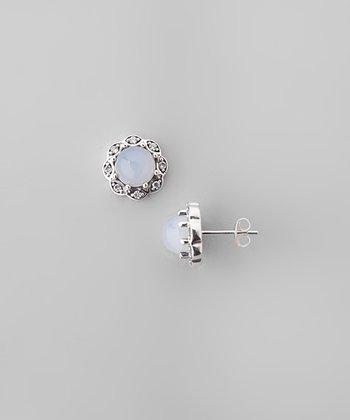 Blue Chalcedony & Sparkle Flower Stud Earrings