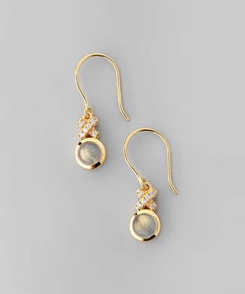 Labradorite & Yellow Gold XO Drop Earrings