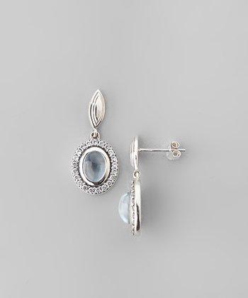 Aquamarine & Sparkle Framed Circle Drop Earrings