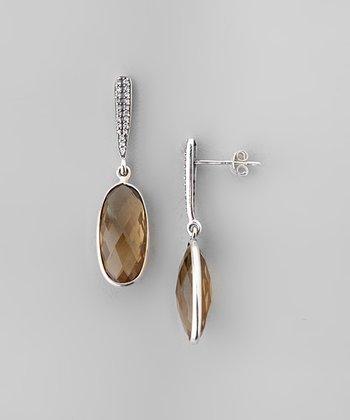 Cognac Quartz & Sparkle Faceted Oval Drop Earrings
