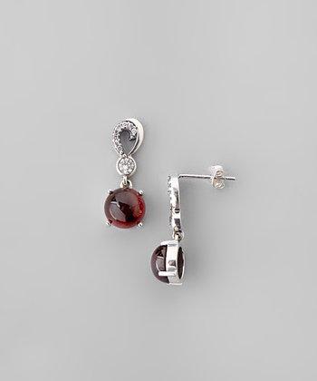 Garnet & Sparkle Round Drop Earrings