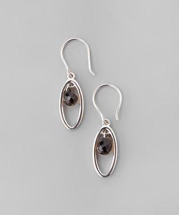 Smoky Quartz & Sterling Silver Cutout Oval Drop Earrings