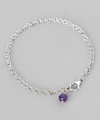 Amethyst & Sterling Silver Chain Link Bracelet