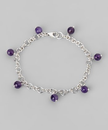 Amethyst & Sterling Silver Link Bracelet